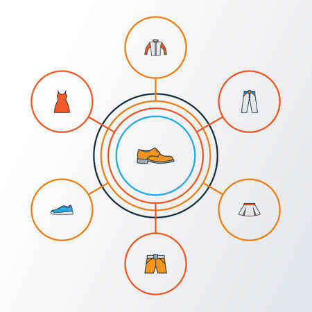 Clothes Colorful Outline Icons Set. Collection Of Sneakers, Man Footwear, Trousers And Other Elements. Also Includes Symbols Such As Girl, Mini, Gown.
