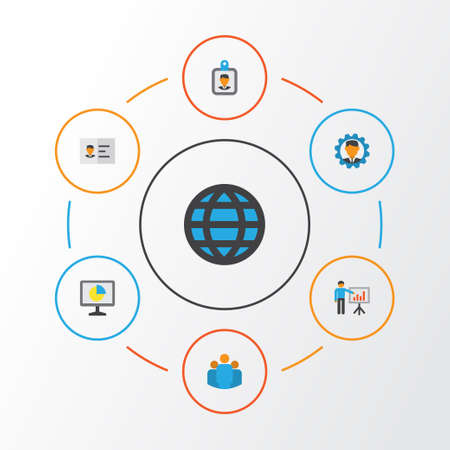 Job Flat Icons Set. Collection Of Global, Developer, Presenting Man And Other Elements. Also Includes Symbols Such As Badge, Id, Developer. Illustration