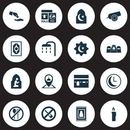 Set di icone del Ramadan. Collezione di pulizia del corpo, cannone, tempo e altri elementi. Include anche simboli come Pinpoint, musulmani, musulmani.
