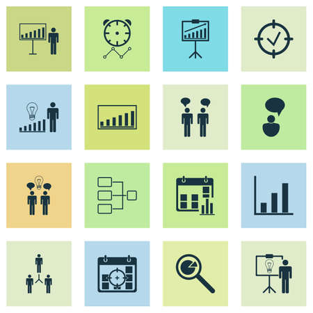 Administration Icons Set. Collection Of Presentation Date, Team Meeting, Solution Demonstration And Other Elements. Also Includes Symbols Such As Statistic, Management, Success.