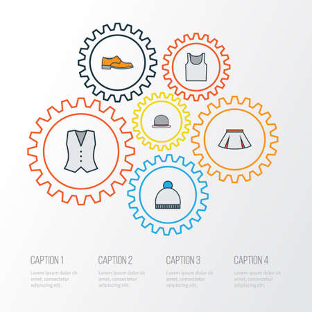 Garment Colorful Outline Icons Set. Collection Of Vest, Panama, Underwear And Other Elements. Also Includes Symbols Such As Pompom, Beanie, Hat.