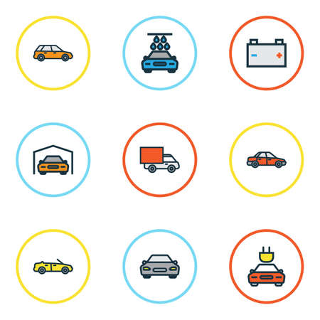 Auto Colorful Outline Icons Set. Collection Of Automobile, Van, Shed And Other Elements. Also Includes Symbols Such As Track, Wagon, Sedan.
