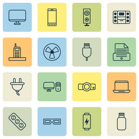 Gadget Icons Set. Collection Of Telephone, Personal Computer, Call And Other Elements. Also Includes Symbols Such As Projector, Flash, Display. Illustration