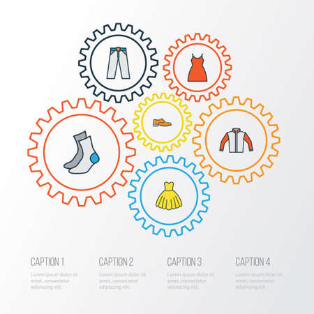 Dress Colorful Outline Icons Set. Collection Of Man Footwear, Dress, Evening Gown And Other Elements Illustration