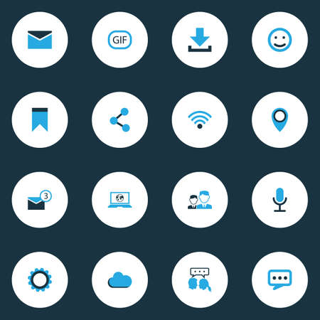 Internet Colorful Icons Set. Collection Of Smile, Cloud, Bookmark And Other Elements. Also Includes Symbols Such As Gif, Publish, Wifi.