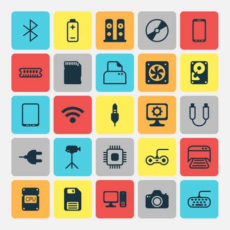 Set di icone del computer. Raccolta di memoria portatile, documento stampato, cellulare e altri elementi. Include anche simboli come Console, Mobile, Card.