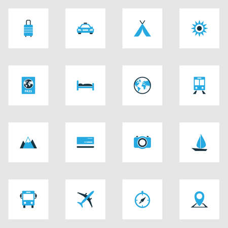 Journey Colorful Icons Set. Collection Of Baggage, Earth, Map Pin And Other Elements. Also Includes Symbols Such As Taxi, Sail, Boat.