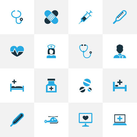polyclinic: Medicine Colorful Icons Set. Collection Of Medical Data, Temperature, Adhesive Plaster And Other Elements. Also Includes Symbols Such As Tools, Polyclinic, Healthy.