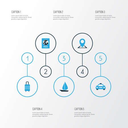 Set di icone colorate in viaggio. Raccolta di bagagli, vela, passaporto e altri elementi. Include anche simboli come identificazione, valigia, pin.