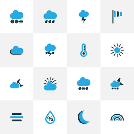 Air Colorful Icons Set. Collection Of Breeze, Night, Sunny And Other Elements. Also Includes Symbols Such As Lightning, Rain, Thunderstorm.