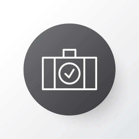 バッグ アイコン シンボルをチェックしました。プレミアム品質は、トレンディなスタイルの荷物スキャナー要素を分離しました。