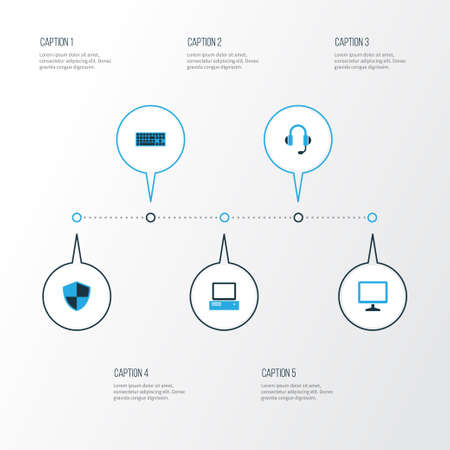 Hardware Colorful Icons Set. Collection Of Firewall, Display, PC And Other Elements