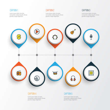 Audio Colorful Outline Icons Set. Collection Of Set, Lover, Tambourine And Other Elements