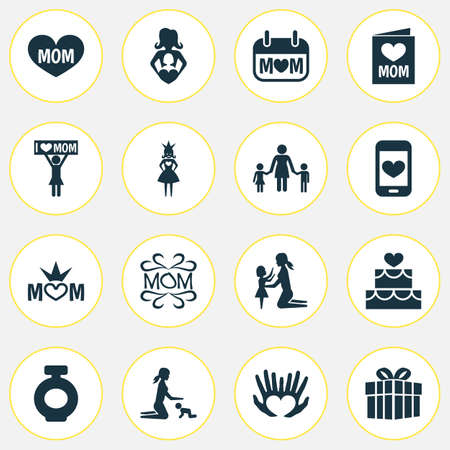 pareja comiendo: Mothers Day Icon Design Concept. Set Of 16 Such Elements As Daughter, Mom And Pastry. Beautiful Symbols For Design, Text And Playing.