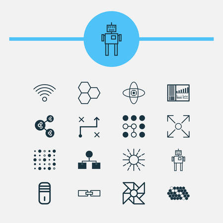 Learning Icons Set. Collection Of Controlling Board, Branching Program, Laptop Ventilator And Other Elements. Also Includes Symbols Such As Communication, Machine, Cpu. Illustration