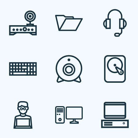 Hardware Outline Icons Set. Collection Of Hard Disk, Keypad, Computer And Other Elements. Also Includes Symbols Such As Device, Winchester, Laptop.