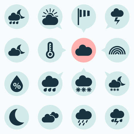 Weather Icons Set. Collection Of Moon, Snowy, Flag And Other Elements. Also Includes Symbols Such As Sun, Nightly, Lightning.