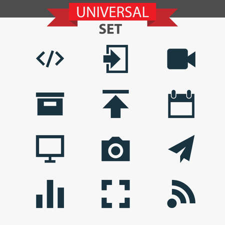 web browser: User Icons Set. Collection Of Camcorder, Origami, Monitor And Other Elements Illustration