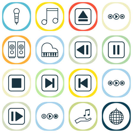 Audio Icons Set. Collection Of Song UI, Octave, Extract Device And Other Elements