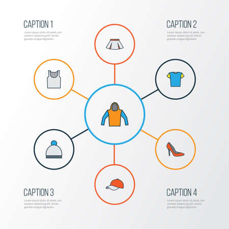 Clothes Colorful Outline Icons Set. Collection Of Skirt, Cap, Beanie And Other Elements. Also Includes Symbols Such As Boots, Girl, Ski.
