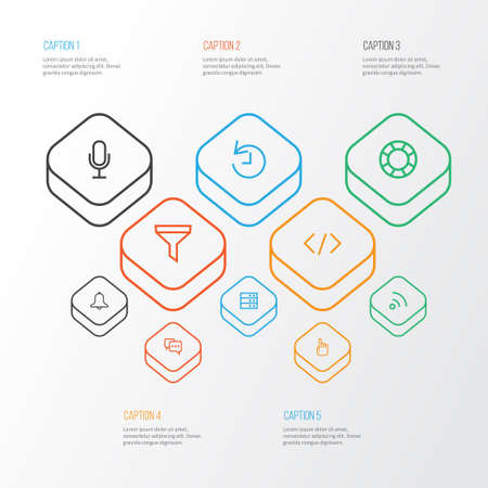 Interface Outline Icons Set. Collection Of Hand, Alarm, Audio Elements. Also Includes Symbols Such As Deadline, Filter, Strainer. Illustration