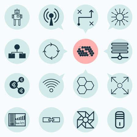 Machine Icons Set. Collection Of Branching Program, Information Components, Mainframe And Other Elements