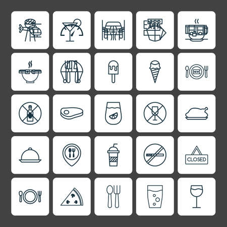 Cafe Icons Set. Collection Of Closed Placard, Cutlery, Soda And Other Elements. Also Includes Symbols Such As Outlet, Sign, Fry.