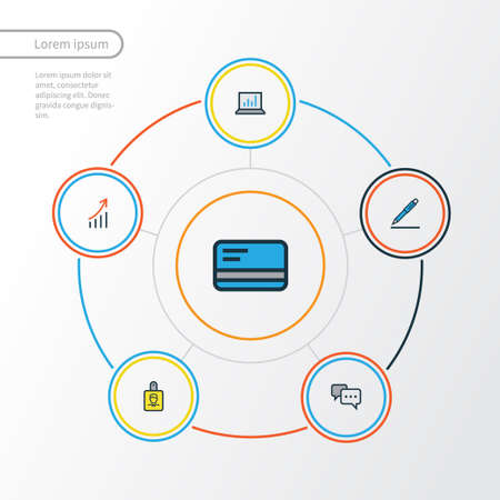 Business Colorful Outline Icons Set. Collection Of Bank Cash, Computer Analytics, Financial Profit And Other Elements. Also Includes Symbols Such As Signing, Identification, Card.