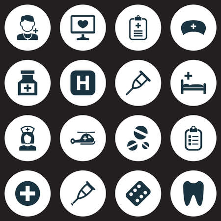 polyclinic: Antibiotic Icons Set. Collection Of Cure, Remedy, Analyzes And Other Elements. Also Includes Symbols Such As Sign, Physician, Plus.