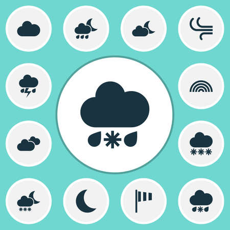 rainy season: Weather Icons Set. Collection Of Nightly, Flash, Night And Other Elements. Also Includes Symbols Such As Light, Rainy, Flash.