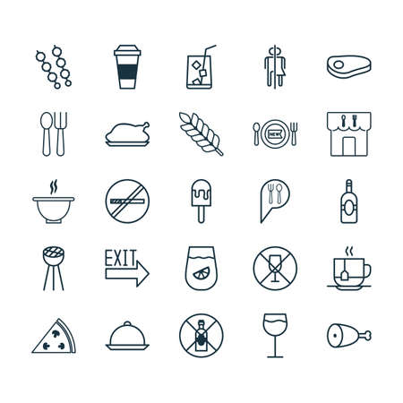 cook out: Cafe Icons Set. Collection Of Restroom, Stick Barbecue, Cutlery And Other Elements. Also Includes Symbols Such As Roast, Restrict, Platter. Illustration