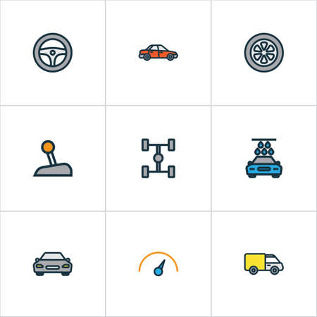 automatic transmission: Car Colorful Outline Icons Set. Collection Of Level, Car, Truck And Other Elements