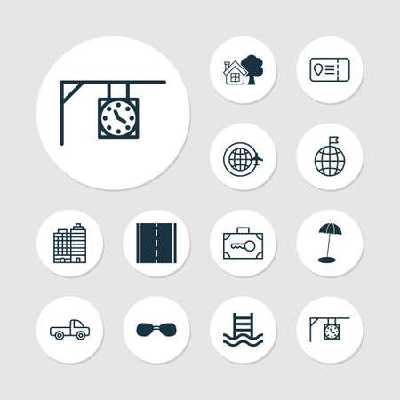 Set of travel icons. Illusztráció