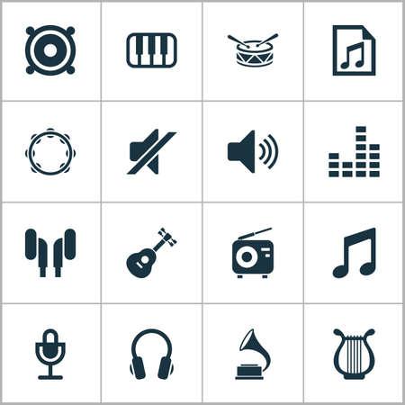 マルチ メディア アイコンを設定します。オクターブ、マイク、楽器、その他の要素のコレクション  イラスト・ベクター素材