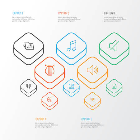 Multimedia Outline Icons Set. Collection Of Plastic, Template, Melody And Other Elements