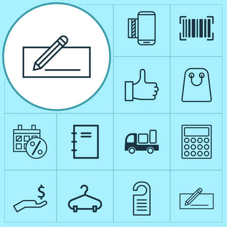 Ecommerce Icons Set. Collection Of Recommended, Tote Bag, Spiral Notebook And Other Elements. Also Includes Symbols Such As Identification, Calculator, Like.