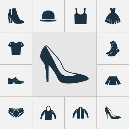 Jurk Icons Set. Collectie van singlet, casual, elegantie en andere elementen