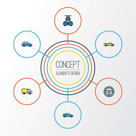 camion: Automobile Colorful Outline Icons Set. Collection Of Sport, Cabriolet, Washing And Other Elements. Also Includes Symbols Such As Car, Auto, Drive.