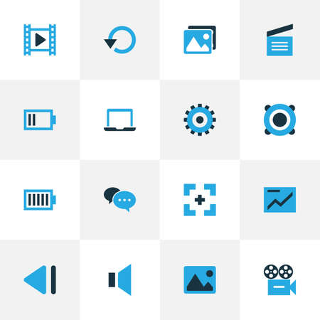 repeatability: Music Colorful Icons Set. Collection Of Previous, Chatting, Charge And Other Elements. Also Includes Symbols Such As Notebook, Laptop, Dialog.