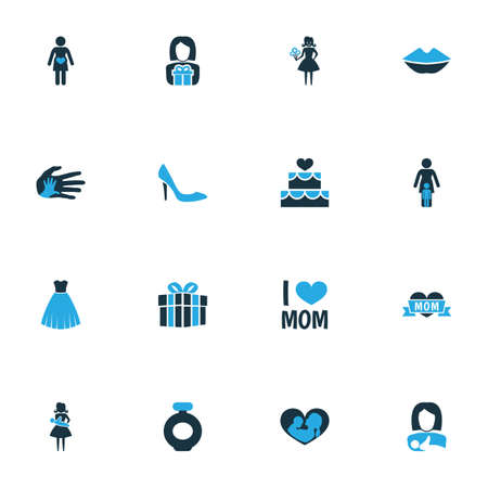 Mothers Day Colorful Icon Design Concept. Set Of 16 Such Elements As Present, Cake And Flower. Beautiful Symbols For Pregnancy, Fragrance And Kid.