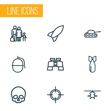 bombshell: Army Outline Icons Set. Collection Of Fugitive, Cranium, Bomb And Other Elements. Also Includes Symbols Such As Refugee, Zoom, Rocket.