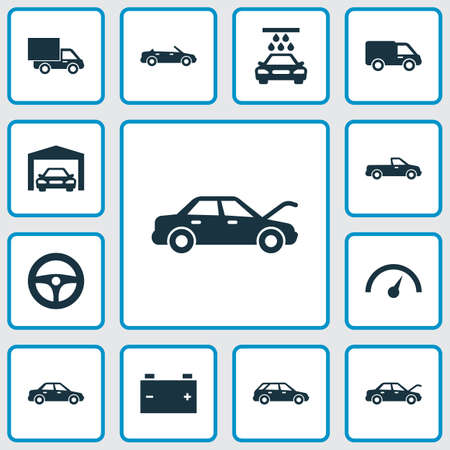 camion: Automobile Icons Set. Collection Of Fixing, Transport Cleaning, Carriage And Other Elements. Also Includes Symbols Such As Fixing, Wagon, Lorry.