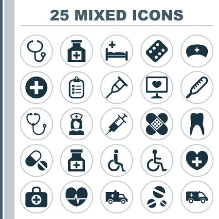 reliever: Medicine Icons Set. Collection Of Injection, Drug, Dental And Other Elements. Also Includes Symbols Such As Ambulance, Health, Bag. Illustration