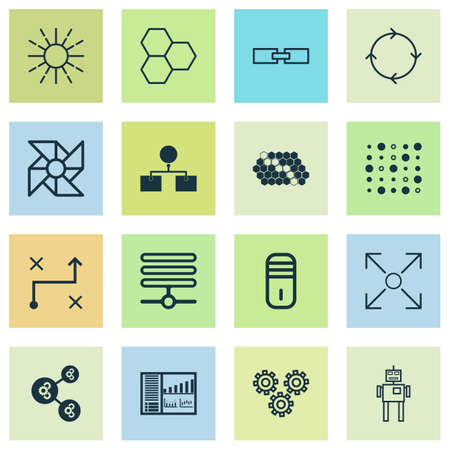 Robotics Icons Set. Collection Of Variable Architecture, Information Components, Branching Program And Other Elements. Also Includes Symbols Such As Shared, Gear, Analysis.