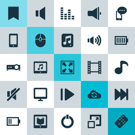 computerized: Media Icons Set. Collection Of Power, Tablet, Forward And Other Elements. Also Includes Symbols Such As Widen, Button, Audio. Illustration