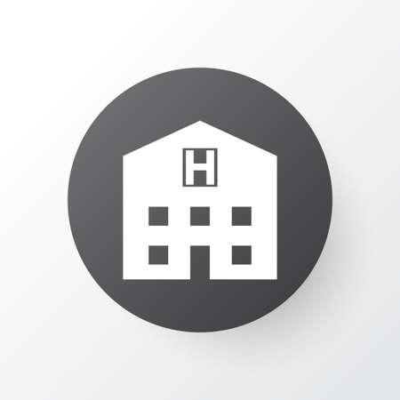 病院アイコンのシンボル。プレミアム品質は、トレンディなスタイルの隠れ家要素を分離しました。 写真素材 - 85242154