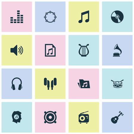 音楽のアイコンを設定します。Cd、書類、Timbrel、その他の要素のコレクションです。またプレイリスト、スピーカー、楽器などの記号が含まれてい