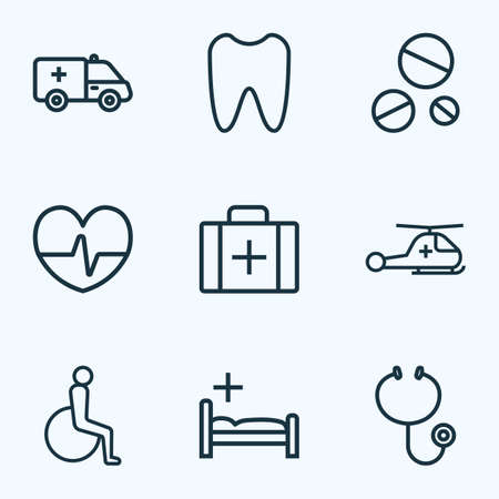 lying in bed: Antibiotic Outline Icons Set. Collection Of Copter , Bed , Handicapped Elements. Also Includes Symbols Such As Handicapped, Dope, Case.