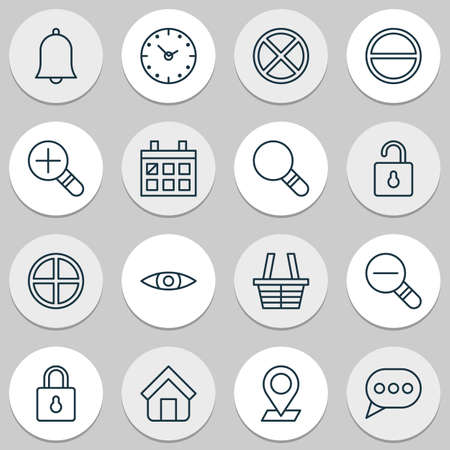 mathematics: Web Icons Set. Collection Of Safeguard, Bell, Pinpoint And Other Elements. Also Includes Symbols Such As Magnifying, Shopping, House. Illustration