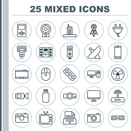 Icons Set. Collection Of Extension Cord, Telephone, Call And Other Elements. Also Includes Symbols Such As Player, Call, Socket. Illustration